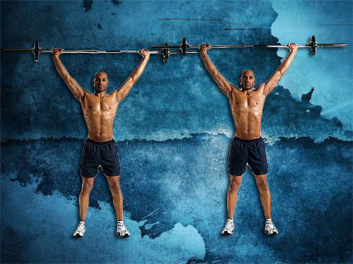 Overhead Shrug exercises instructions